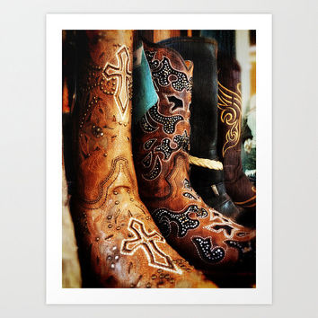 Boots Photograph - Western, Footwear, shoes, Cowboy, Cowgirl, Country, Rock and Roll, Orange, Brown, Tan, Leather, Outlaw, Shopping, Store