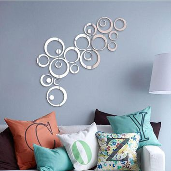 24pcs Acrylic DIY decorative mirror wall stickers, environmentally friendly high-quality living room bedroom decorative mirror