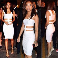 2014 Women's Club Party Ladies Dress White Bandage Sleeveless Sexy Bodycon Dress