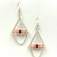 Crystals and chain dangle earrings