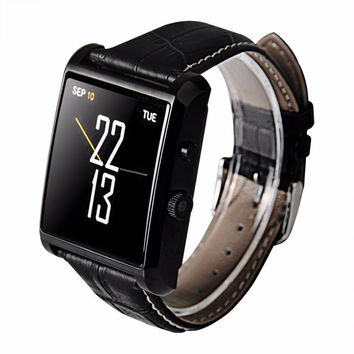 CXY DM08 Bluetooth Leather Smart Watch with Camera IPS Screen 360mAh Battery Waterproof for IOS iPhone Android Smartphone