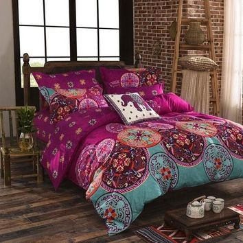 Bedding Bohemian Mandala Medallion Print Duvet Cover Set Twin Queen King Size