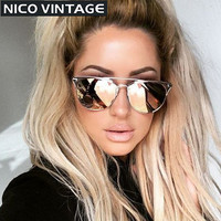 TRIOO Mirror Rose Gold Women Sunglasses Round Luxury Brand Female Sun Glasses For Women 2016 Fashion Oculos Star Style Shades