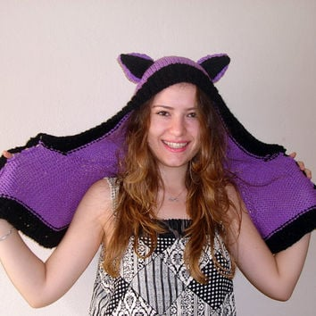 Hand Knitted black and lavender ears hat, lamb ear, purple  animal hats for adults