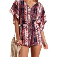 Tribal Print Kimono Sleeve Romper by Charlotte Russe - Navy Combo