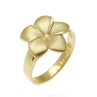 SOLID 14K YELLOW GOLD HAWAIIAN 14MM SINGLE PLUMERIA FLOWER RING