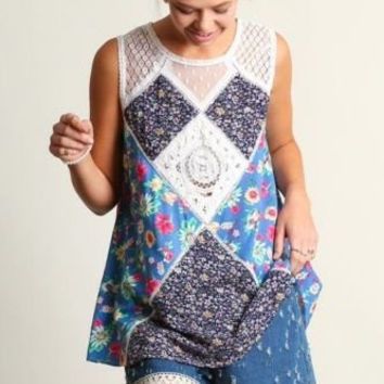 UMGEE USA lace sleevless printed summer tunic top S M L