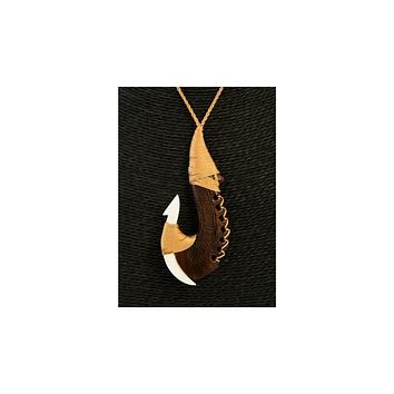 Carved Wood Fish Hook Necklace