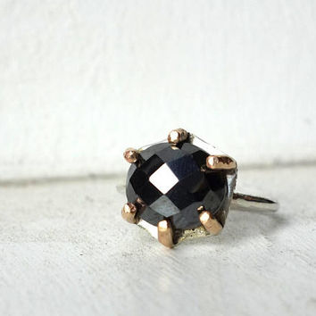 Faceted Hematite in Multi Prong Ring Handmade in 14k Gold-Fill and Sterling Silver