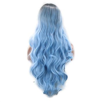 Colorful Long Wave Curly Black Ombre Blue Cosplay Wig Lolita Style Anime Cosplay Wigs