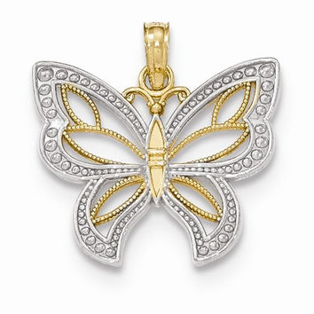 14k Two tone Gold 3-D Butterfly Wings Pendant