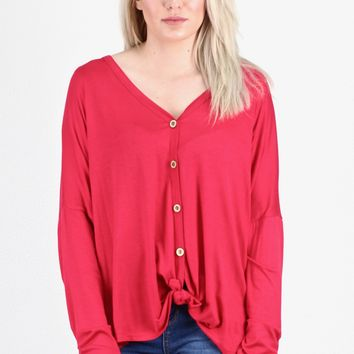 Solid Button Down + Knot Front Long Sleeve {Red}