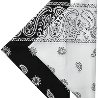 Levi's Men's Printed Bandanas (Pack of 2), Black/White, One Size