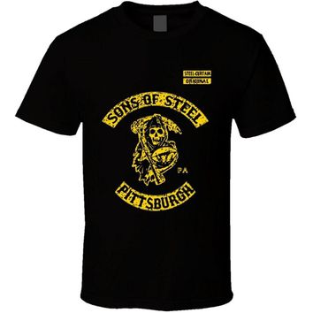 2018 Fashiont-Shirt Bandit Sons Of Steel Pittsburgh Curtain Steelers Soa Reaper Footballer Cotton O-Neck T Shirt