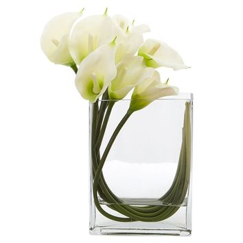 Silk Flowers -12 Inch White Calla Lily In Rectangular Glass Vase