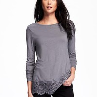 Relaxed Lace-Trim Top for Women | Old Navy
