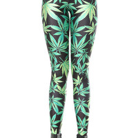 Leaves Print Skinny Leggings