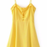 Sweet Lace Up Yellow Mini Dress