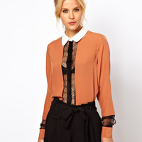 ASOS | ASOS Blouse With Colourblock And Lace Panels at ASOS