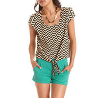 Studded Chevron Tie-Front Top: Charlotte Russe