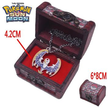 Anime  Sun Moon Lunala Necklace with Box Litten Rowlet Necklace Pendant Cosplay Collection custume accessoriesKawaii Pokemon go  AT_89_9