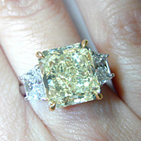 6.11ct Fancy Yellow  Radiant Cut Diamond Engagement Ring 900,000 GIA certified JEWELFORME BLUE