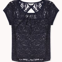 Cutout Back Lace Top