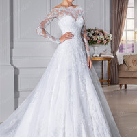 Custom made Vestido De Noivas A-line Lace Wedding dresses Full Sleeves Wedding gowns with Court Train