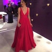 Red V Neck A Line Long Prom Dress