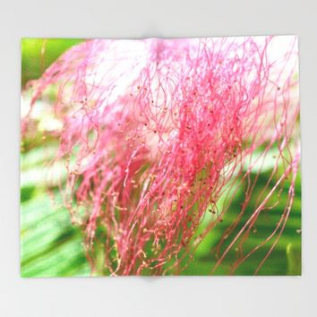 Pink Costa Rican Flower Throw Blanket by UMe Images