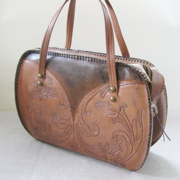 70s Hand Tooled Leather Handbag Purse Western Boho
