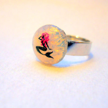 OOAK Vintage Fire Opal Mermaid Ring, Adjustable Mermaid Ring, Silver Tone Nautical Ring
