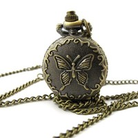 Youyoupifa Bronze Tone Butterfly Carved Case Necklace Pocket Watch (Small Size)