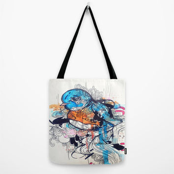 Animal art Canvas Tote Bag of Watercolor Blue Blue. Fashion bag, Shopping bag, Purse, handbag