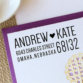 Wedding Address Stamp, Return Address Stamp, Personalized Heart Stamp, Make Address Labels - design 1043