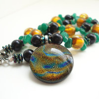 Circle Necklace, Multicolor Glass Necklace