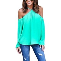 Nlife Women Chiffon Off Shoulder Long Sleeve Halter Neck Shirt Blouse Tops - Walmart.com