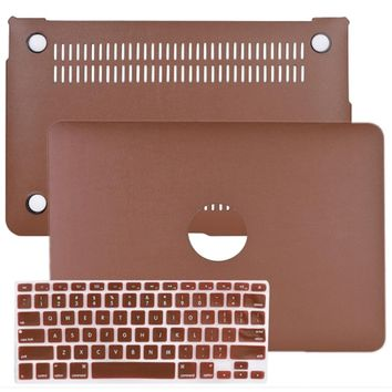 SlickBlue Leatherette Hard Case for 11 MacBook Air w/Keyboard Cover (Brown)