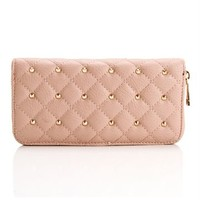 Blush Gold Quilted Studded Wallet
