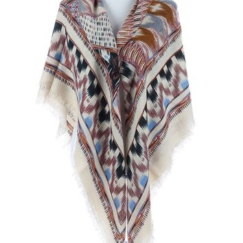 Mulit Color Patterned Soft Yarn Blanket Scarf