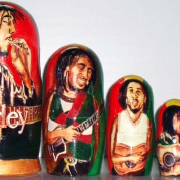 Bob Marley matreshka traditional russian nesting doll made curved painted by hand wood linden birch decorative collectible holiday birthday
