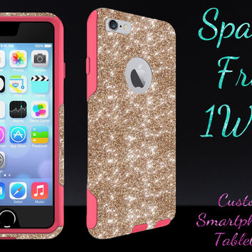 "OtterBox Commuter Series Case for 4.7"" iPhone 6 - Custom Glitter Case for 4.7"" iPhone 6 - Gold/Pink"