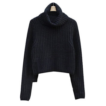 NIKKI  Knitted Turtleneck Crop Sweater - Black