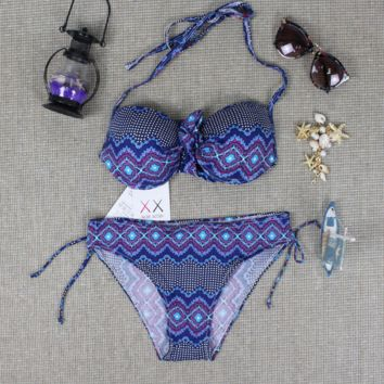 Bohemian Ethni Geometry Print Push Up Bikini swimsuit Bathing Suit BK15028