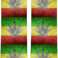 420 ganja and flag knee high socks, weed themed clothing accessory, pot design