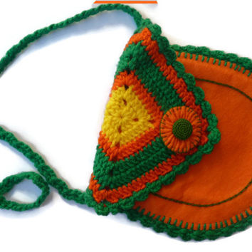 Girls bag orange crochet and felt / shoulder bag for child in orange felt / Accessories for Girls in handmade / crochet girls handbag
