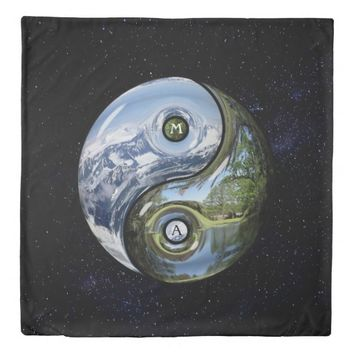 Yin And Yang As Planet Earth With Your Monogram Duvet Cover