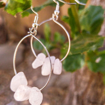 Rose Quartz Hoop Earrings-Gemstone Earrings-Minimalist jewelry-Boho Earrings-Festival Jewelry-Bridesmaid Gift-Best Friend Gift