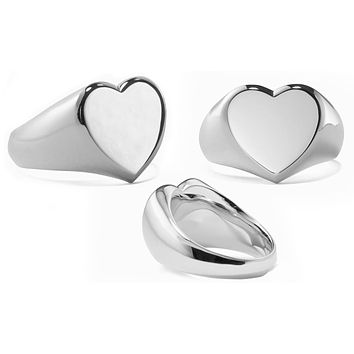 Heart Signet Ring in 18K White Gold Plated 925 Sterling Silver Unique Casual Rings