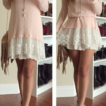 Knitted Solid Ruffle Tunic - Peach